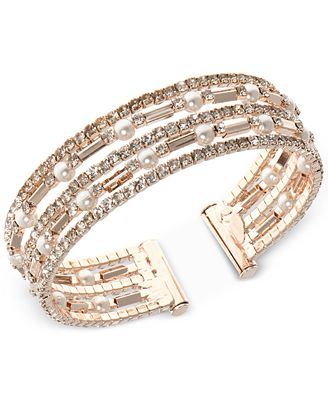 Anne Klein Rose Gold-Tone Imitation Pearl and Crystal Multi-Row Cuff Bracelet