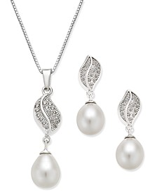 Cultured Freshwater Pearl (7x9mm) and Cubic Zirconia Pendant Necklace and Matching Drop Earrings Set in Sterling Silver