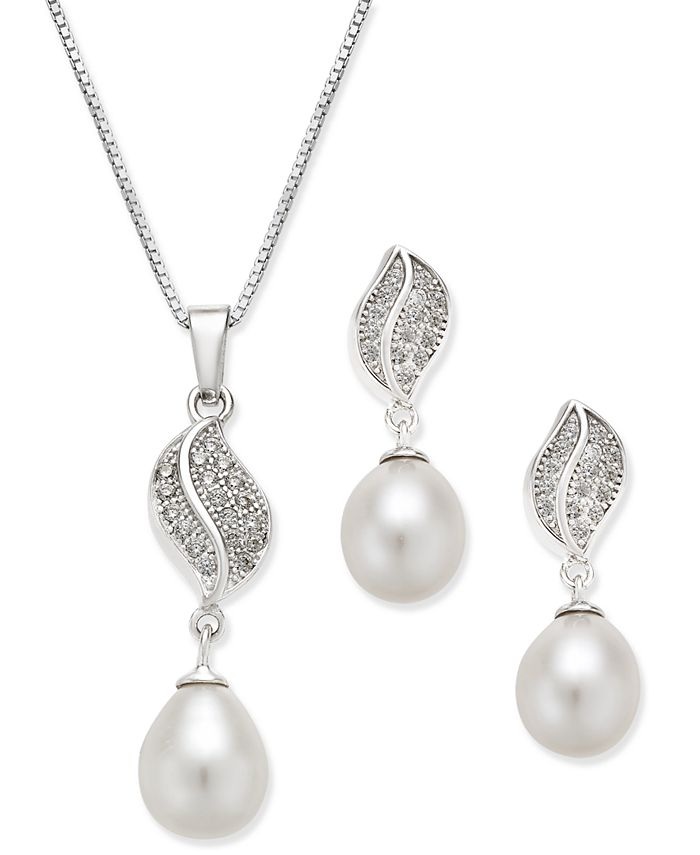 Macy's - Cultured Freshwater Pearl (7x9mm) and Cubic Zirconia Pendant Necklace and Matching Drop Earrings Set in Sterling Silver