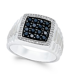 Men's Black Sapphire (1 ct. t.w.) and White Sapphire (1/5 ct. t.w.) Ring in Sterling Silver