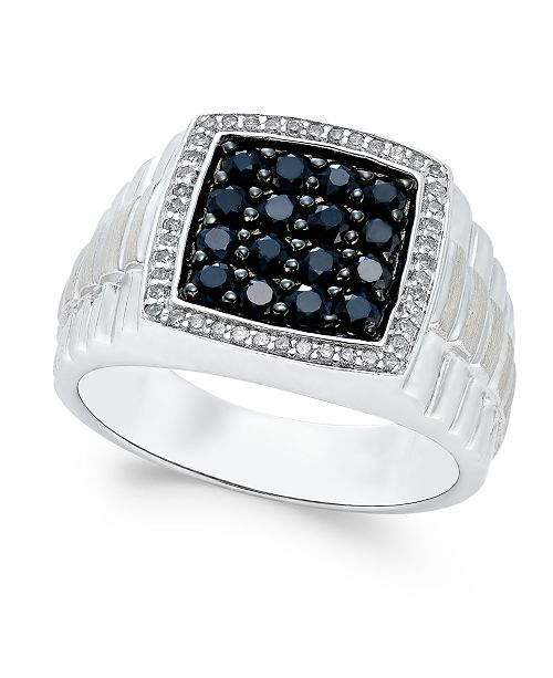 Macy's Men's Black Sapphire (1 ct. t.w.) and White Sapphire (1/5 ct. t.w.) Ring in Sterling Silver