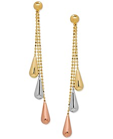Tri-Gold Linear Drop Earrings in 14k Gold, White Gold and Rose Gold, 2 inch