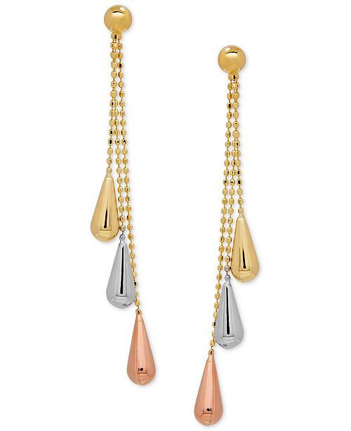 Macy's Tri-Gold Linear Drop Earrings in 14k Gold, White Gold and Rose Gold, 2 inch