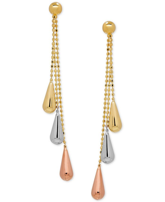 Italian Gold - Tri-Gold Linear Drop Earrings in 14k Yellow, White and Rose Gold