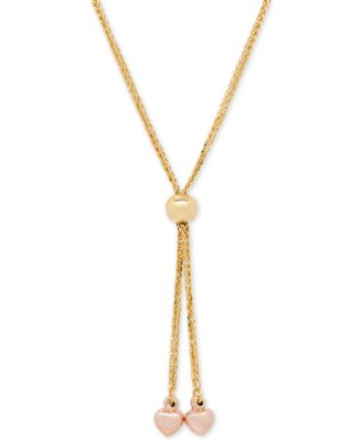 Italian Gold TwoTone Heart Lariat Necklace in 14k Gold and Rose