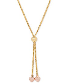 Two-Tone Heart Lariat Necklace in 14k Gold and Rose Gold