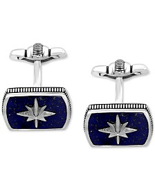 EFFY® Men's Lapis Lazuli (16-1/2 x 12mm) Starburst Cuff Links in Sterling Silver