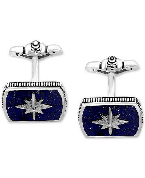 EFFY Collection EFFY® Men's Lapis Lazuli (16-1/2 x 12mm) Starburst Cuff Links in Sterling Silver