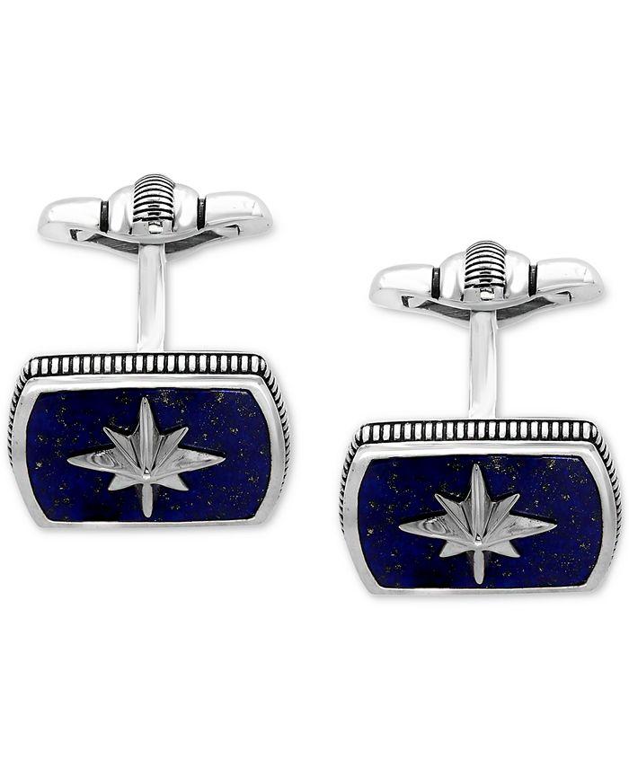 EFFY Collection - Men's Lapis Lazuli (16-1/2 x 12mm) Starburst Cuff Links in Sterling Silver and Black Rhodium