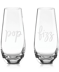 kate spade new york Two of a Kind Pop & Fizz Set of 2 Stemless Champagne Glasses