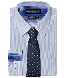 Nick Graham Men's Modern Fitted Striped Dress Shirt & Grid Tie Set