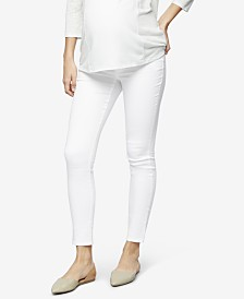 Luxe Essentials Denim Maternity White-Wash Skinny Jeans