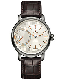 Rado Men's Swiss Automatic DiaMaster Brown Leather Strap Watch 43mm R14129116