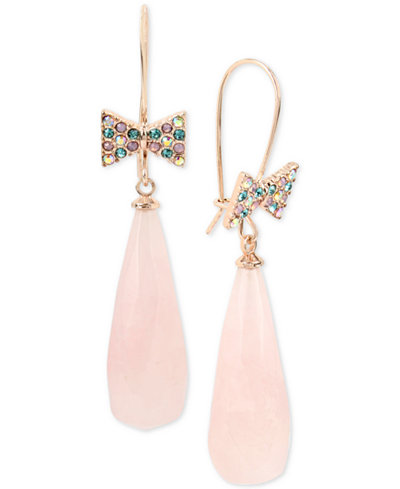 Betsey Johnson Rose Gold-Tone Bow Tie and Large Stone Drop Earrings