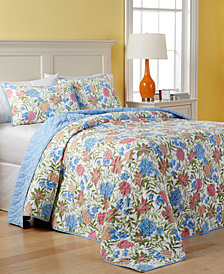 Martha Stewart Collection Cotton Gramercy Garden Reversible Quilted Queen Bedspread, Created for Macy's