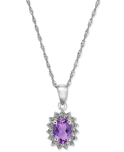Amethyst (3/4 ct. t.w.) and White Topaz (1/6 ct. t.w.) Pendant Necklace in 10k Gold