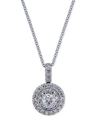 Diamond Round Pendant Necklace (7/8 ct. t.w.) in 14k White Gold