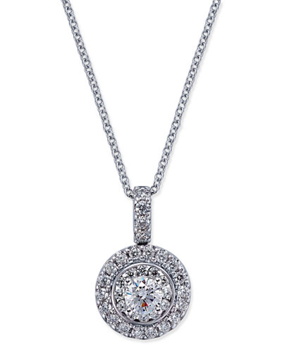 Diamond round pendant necklace 78 ct tw in 14k white gold diamond round pendant necklace 78 ct tw in 14k white gold aloadofball Choice Image