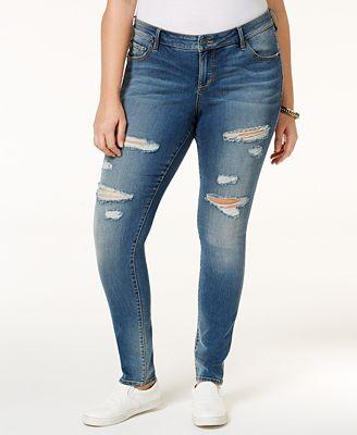 SLINK Jeans Trendy Plus Size Danika Wash Ripped Skinny Jeans