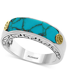 EFFY® Men's Manufactured Turquoise Ring (20 x 6mm) in Sterling Silver and 18k Gold