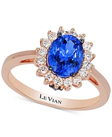 Le Vian Chocolatier® Tanzanite (1 ct. t.w.) and Diamond (1/3 ct. t.w.) Ring in 14k Rose Gold