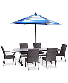 "CLOSEOUT! Savannah Outdoor 7-Pc. Dining Set (84"" x 42"" Rectangle Dining Table, 4 Armless Dining Chairs & 2 Dining Chairs), Created for Macy's"