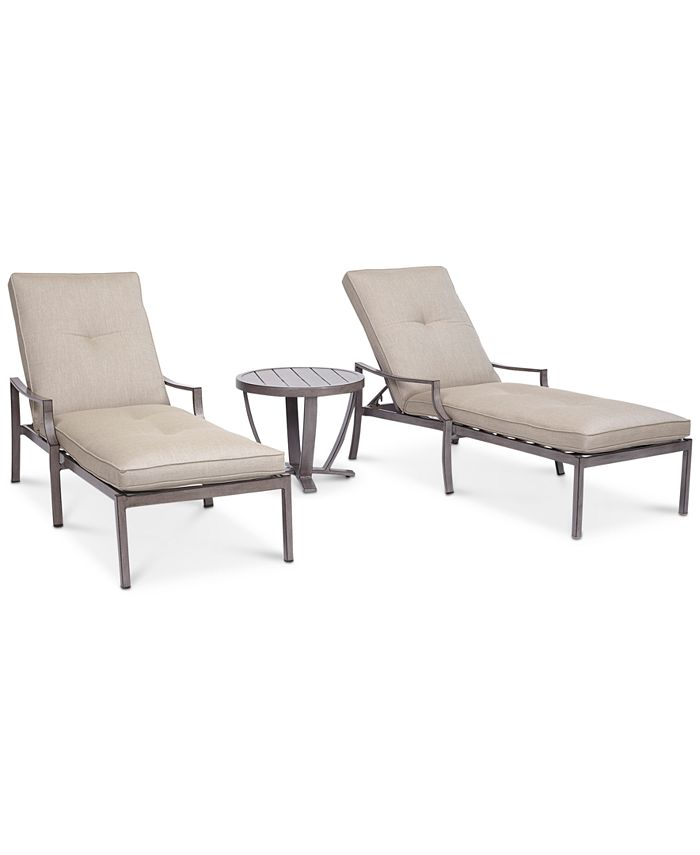 Furniture - Wayland Outdoor Aluminum 3-Pc. Chaise Set (2 Chaise Lounges & 1 End Table)