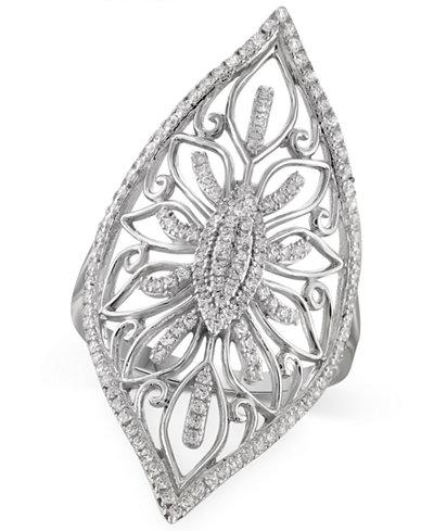 Diamond Filigree Ring (1/3 ct. t.w.) in Sterling Silver