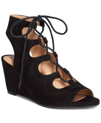 Image of American Rag Suriya Lace-Up Demi Wedge Sandals, Only at Macy's
