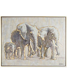 Metallic Elephant Family Handpainted Framed Canvas Wall Art