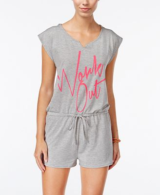 Material Girl Active Juniors' Graphic Romper, Only at Macy's
