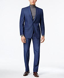 by Andrew Marc Men's Stretch Classic-Fit Blue Neat Suit