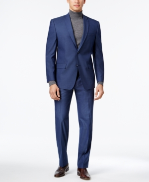 Marc New York by Andrew Marc Men's Classic-Fit Blue Neat Sui