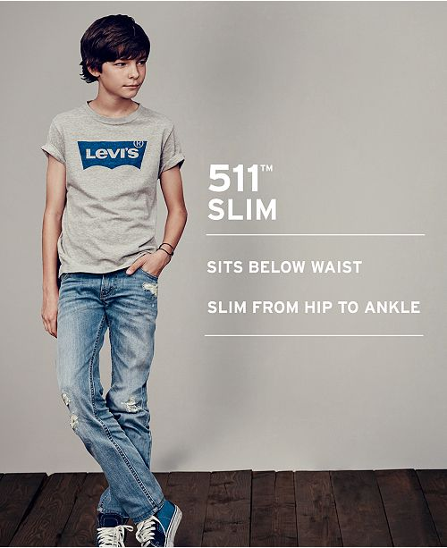 5779e1d2 Levi's 511™ Slim Fit Frayed Ripped Jeans, Big Boys & Reviews - Jeans ...