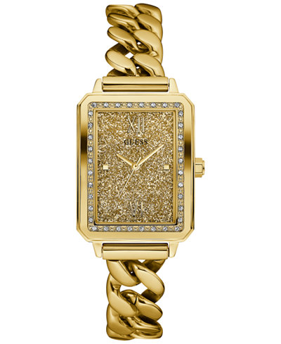 GUESS Women's Gold-Tone Stainless Steel Chain Link Bracelet Watch 28mm U0896L2