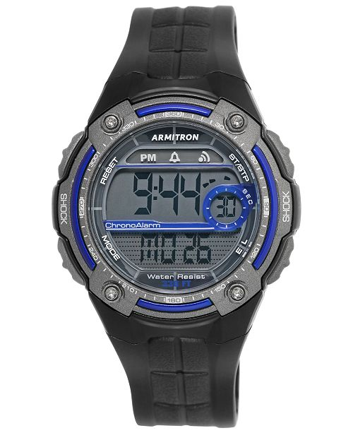 Armitron Men's Digital Black Resin Strap Watch 45mm 40-8189BLU