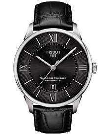 Tissot Men's Swiss Automatic T-Classic Chemin Des Tourelles Powermatic 80 Black Leather Strap Watch 42mm T0994071605800
