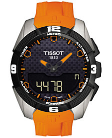 Tissot Men's Swiss Analog-Digital T-Touch Expert Solar Orange Rubber Strap Watch 45mm T0914204705101
