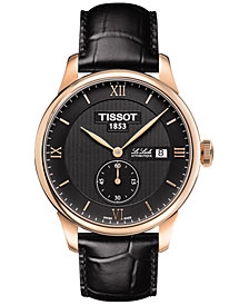 Tissot Men's Swiss Automatic Chronograph T-Classic Le Locle Black Leather Strap Watch 39mm T0064283605801