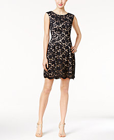 Vince Camuto Floral-Lace Fit & Flare Dress