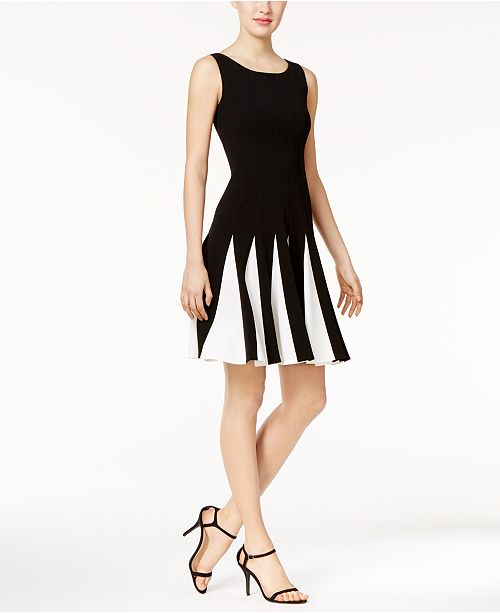 Tommy Hilfiger Contrast Pleated Scuba Fit Amp Flare Dress