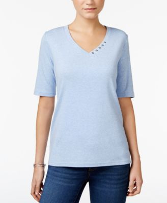 Image of Karen Scott Elbow-Sleeve Top, Only at Macy's