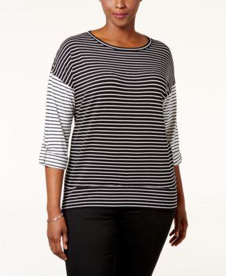 Calvin Klein Performance Plus Size Striped Top