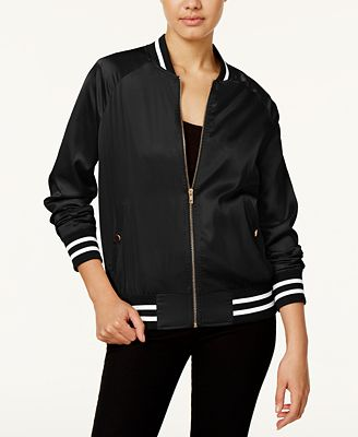 Say What? Juniors' Satin Bomber Jacket