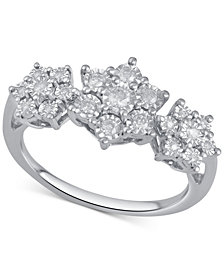 Diamond Triple Cluster Ring (1/4 ct. t.w.) in Sterling Silver
