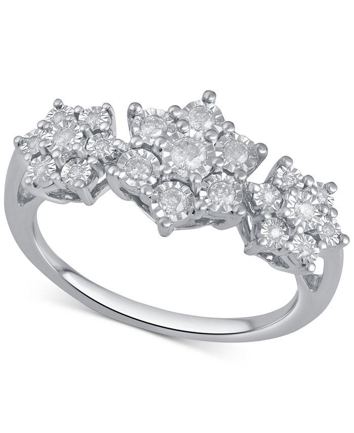 Macy's - Diamond Triple Cluster Ring (1/4 ct. t.w.) in Sterling Silver