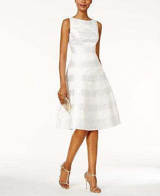 Adrianna Papell Striped A Line Dress Dresses Women