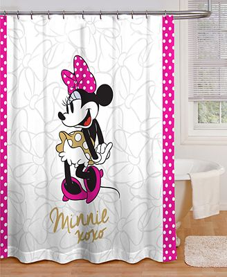 jay franco minnie mouse xoxo shower curtain - bathroom accessories