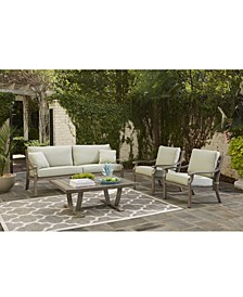 Tara Aluminum Outdoor 4-Pc. Seating Set (1 Sofa, 2 Club Chairs & 1 Coffee Table), with Sunbrella® Cushions, Created for Macy's
