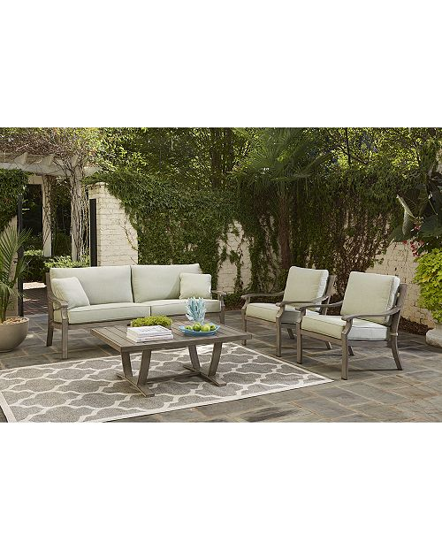 Furniture Tara Aluminum Outdoor 3 Pc Seating Set 1 Sofa